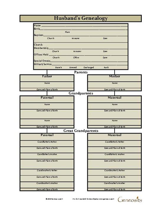 Husband Genealogy Chart Record