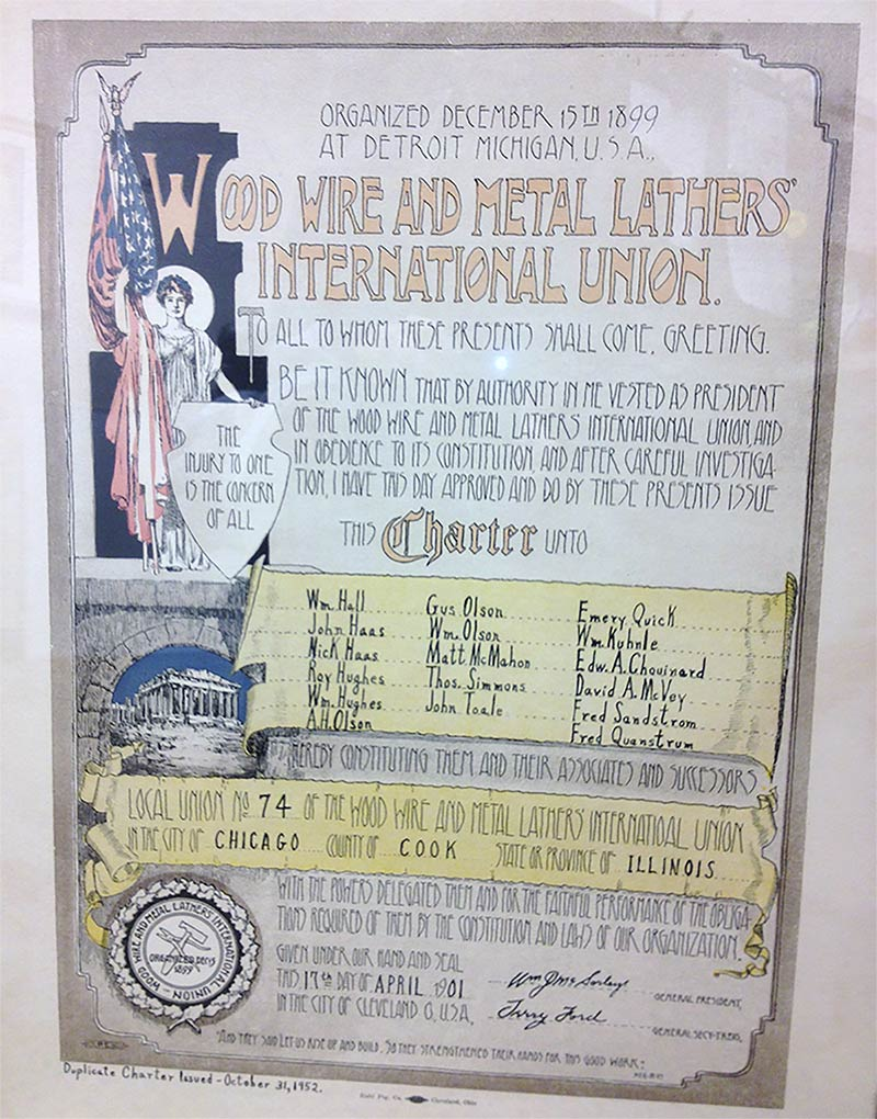 Metal Lathers International Labor Union in Chicago IL Illinois 1901
