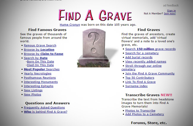 Find a Grave Website for ancestors