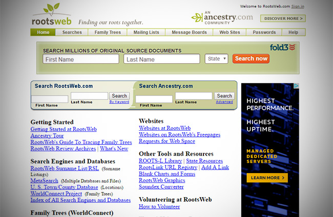 ancestry rootsweb genealogy